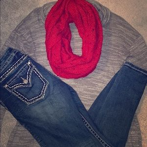 Accessories - Cozy Red Sparkle Scarf
